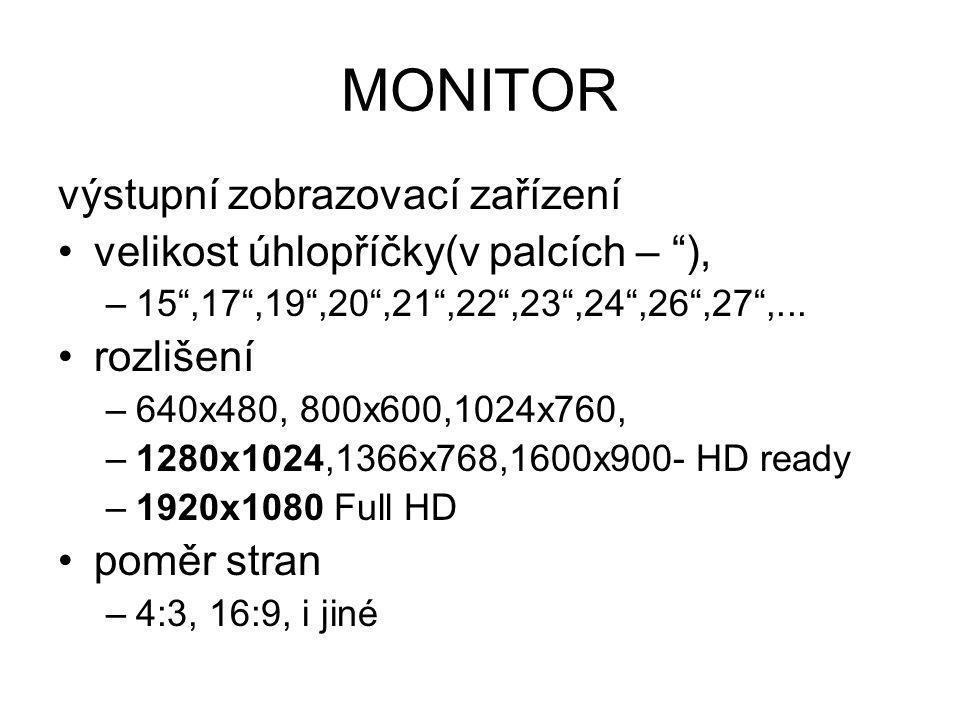 MONITOR výstupní zobrazovací zařízení