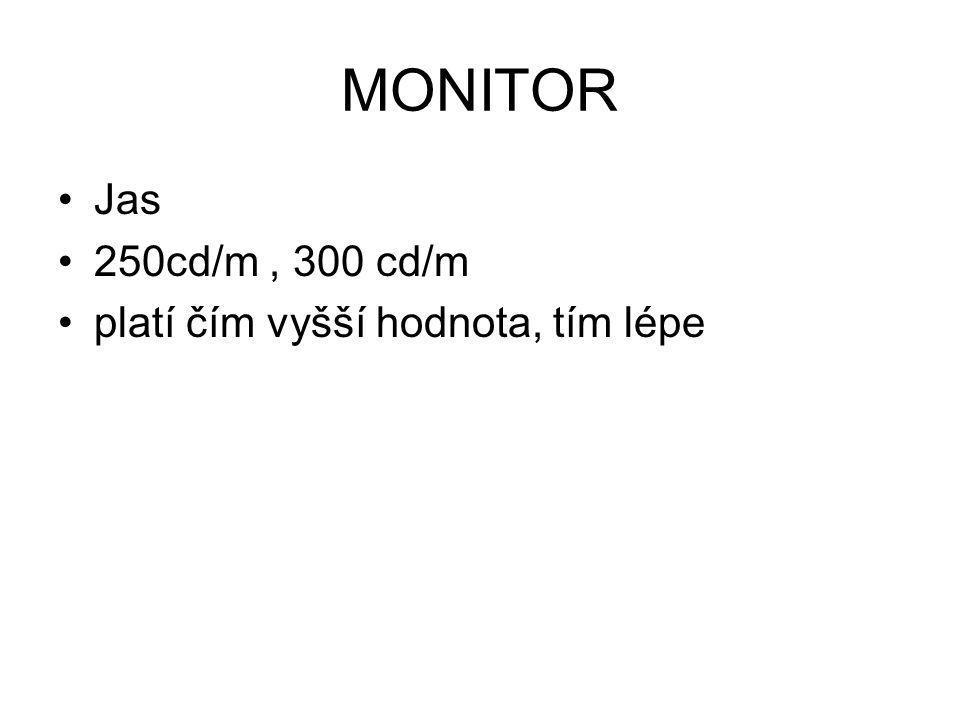 MONITOR Jas 250cd/m , 300 cd/m platí čím vyšší hodnota, tím lépe