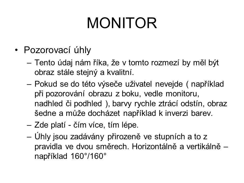 MONITOR Pozorovací úhly
