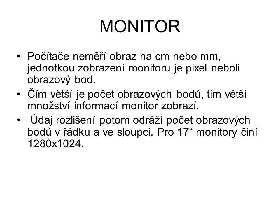 MONITOR Počítače neměří obraz na cm nebo mm, jednotkou zobrazení monitoru je pixel neboli obrazový bod.