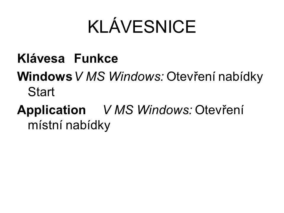KLÁVESNICE Klávesa Funkce Windows V MS Windows: Otevření nabídky Start