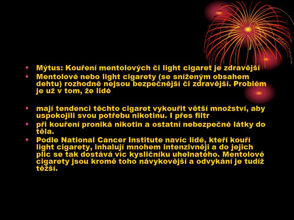 Mýtus: Kouření mentolových či light cigaret je zdravější