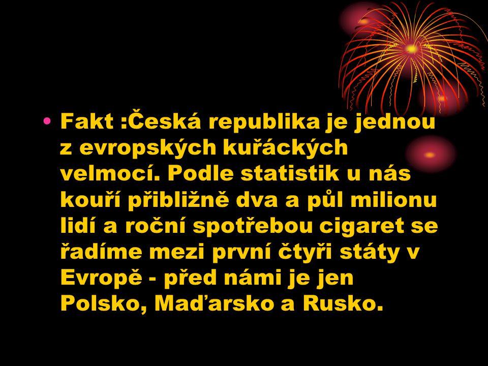 Fakt :Česká republika je jednou z evropských kuřáckých velmocí