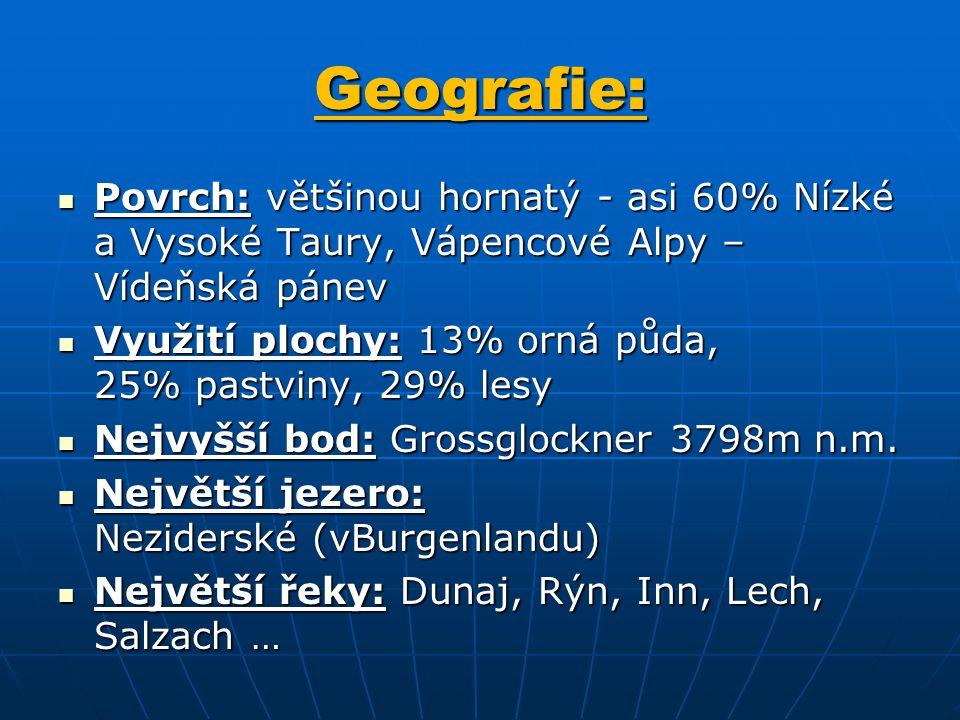 Geografie: Povrch: většinou hornatý - asi 60% Nízké a Vysoké Taury, Vápencové Alpy – Vídeňská pánev.