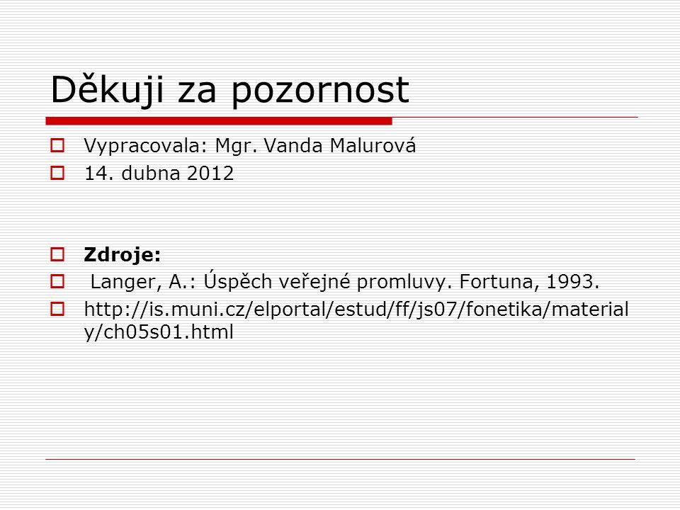 Děkuji za pozornost Vypracovala: Mgr. Vanda Malurová 14. dubna 2012