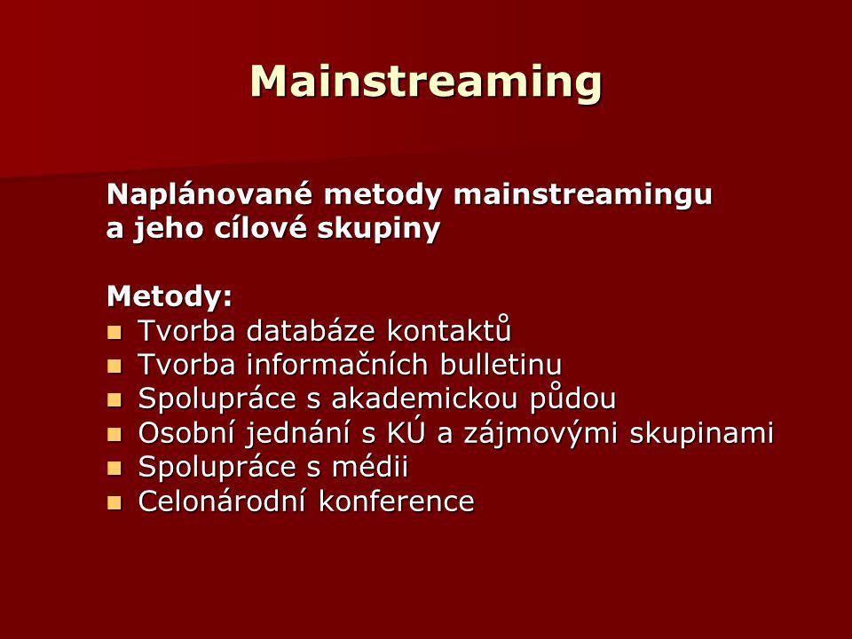 Mainstreaming Naplánované metody mainstreamingu a jeho cílové skupiny