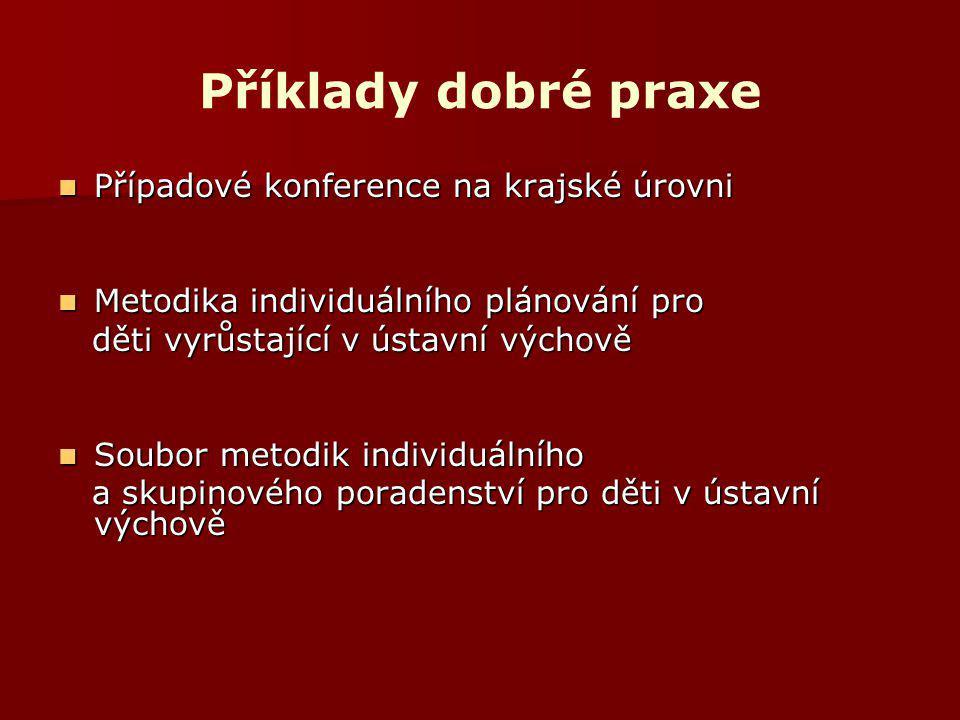 Příklady dobré praxe Případové konference na krajské úrovni