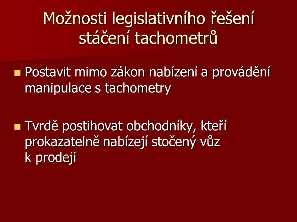 Možnosti legislativního řešení stáčení tachometrů