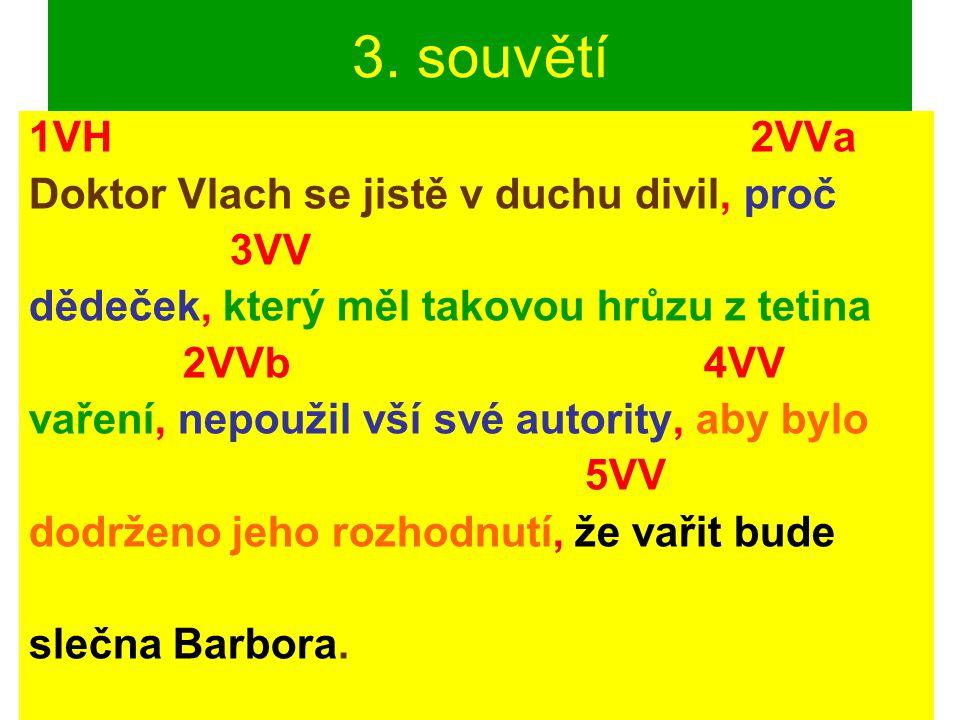 3. souvětí 1VH 2VVa Doktor Vlach se jistě v duchu divil, proč 3VV