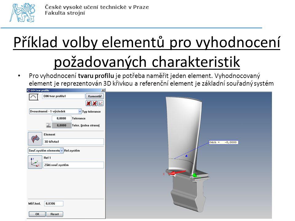 Příklad volby elementů pro vyhodnocení požadovaných charakteristik