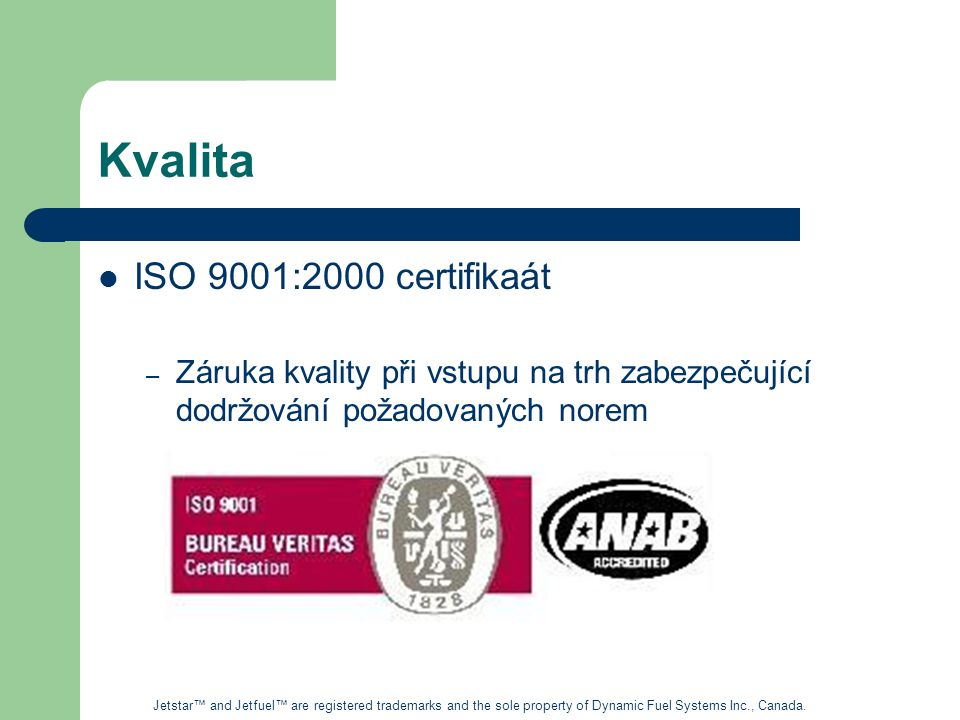 Kvalita ISO 9001:2000 certifikaát