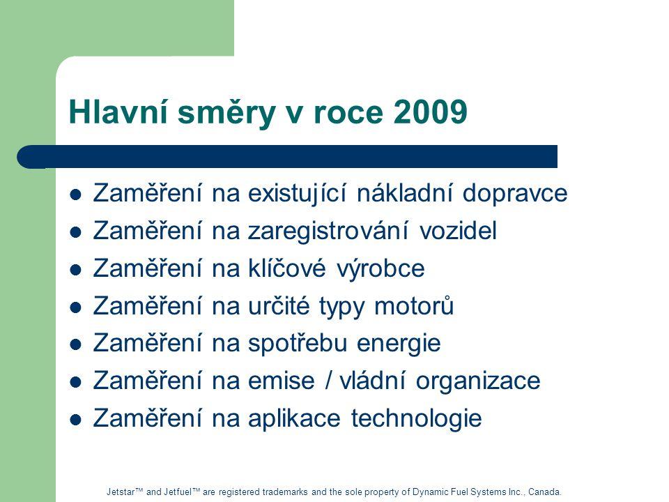Hlavní směry v roce 2009 Zaměření na existující nákladní dopravce