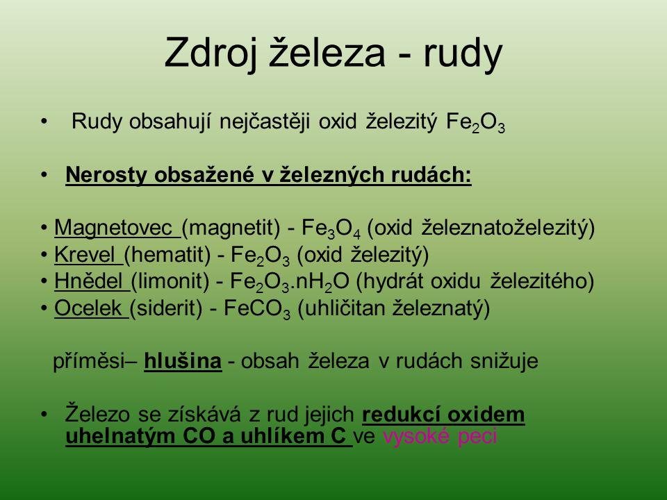 Zdroj železa - rudy Rudy obsahují nejčastěji oxid železitý Fe2O3