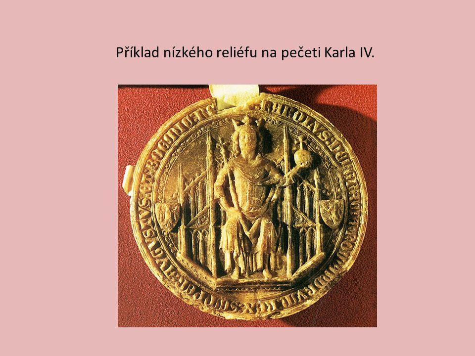 Příklad nízkého reliéfu na pečeti Karla IV.