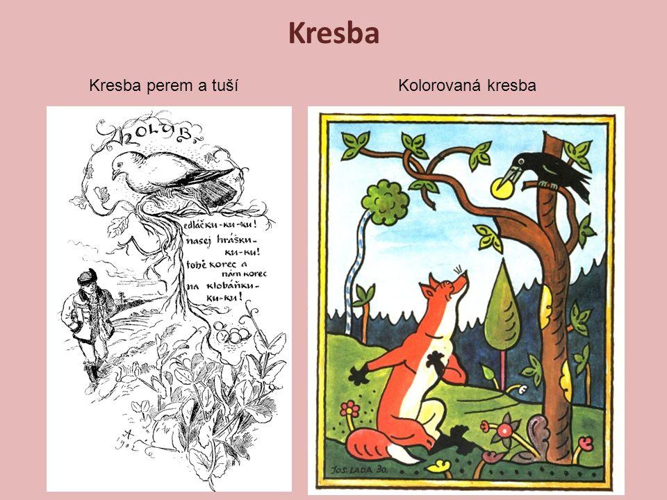 Kresba Kresba perem a tuší Kolorovaná kresba