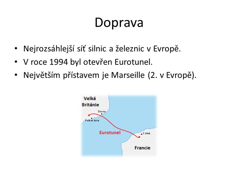 Doprava Nejrozsáhlejší síť silnic a železnic v Evropě.