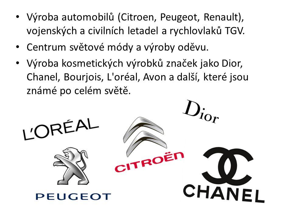 Výroba automobilů (Citroen, Peugeot, Renault), vojenských a civilních letadel a rychlovlaků TGV.