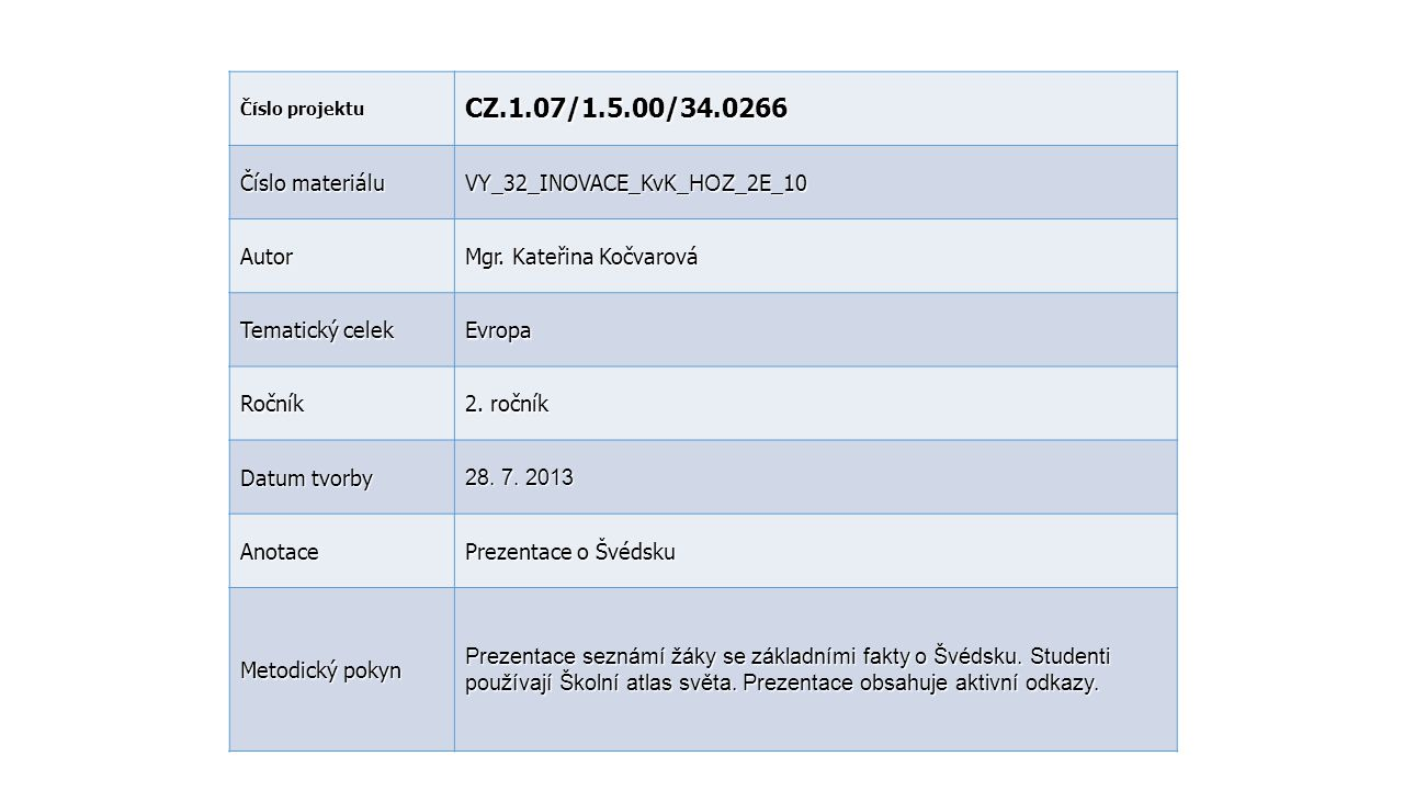 CZ.1.07/1.5.00/34.0266 Číslo materiálu VY_32_INOVACE_KvK_HOZ_2E_10