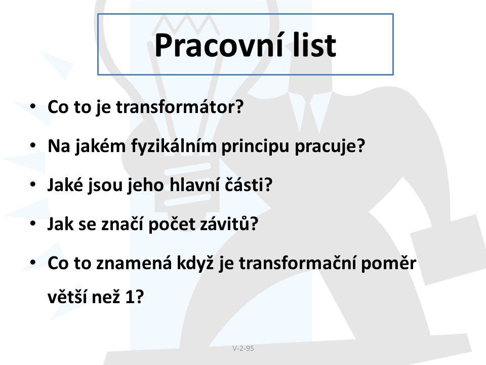 Pracovní list Co to je transformátor