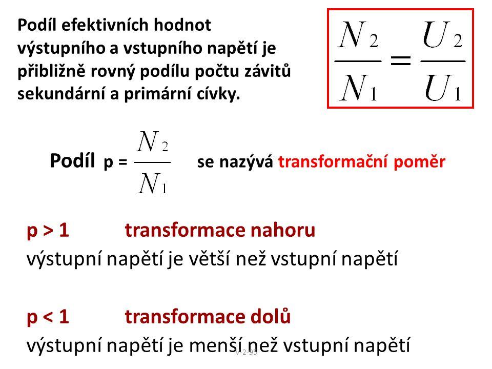 Podíl p = se nazývá transformační poměr