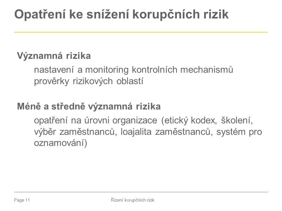 Opatření ke snížení korupčních rizik