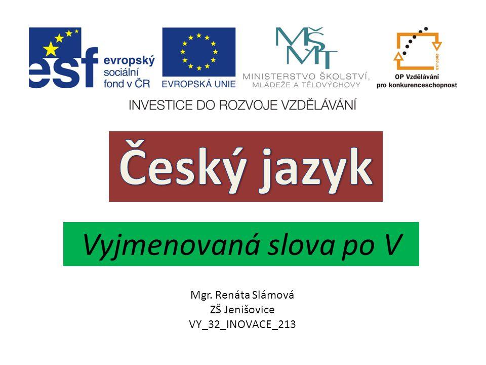 Český jazyk Vyjmenovaná slova po V Mgr. Renáta Slámová ZŠ Jenišovice