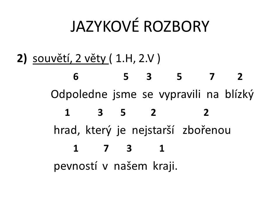 JAZYKOVÉ ROZBORY 2) souvětí, 2 věty ( 1.H, 2.V ) 6 5 3 5 7 2