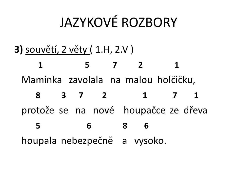 JAZYKOVÉ ROZBORY 3) souvětí, 2 věty ( 1.H, 2.V ) 1 5 7 2 1
