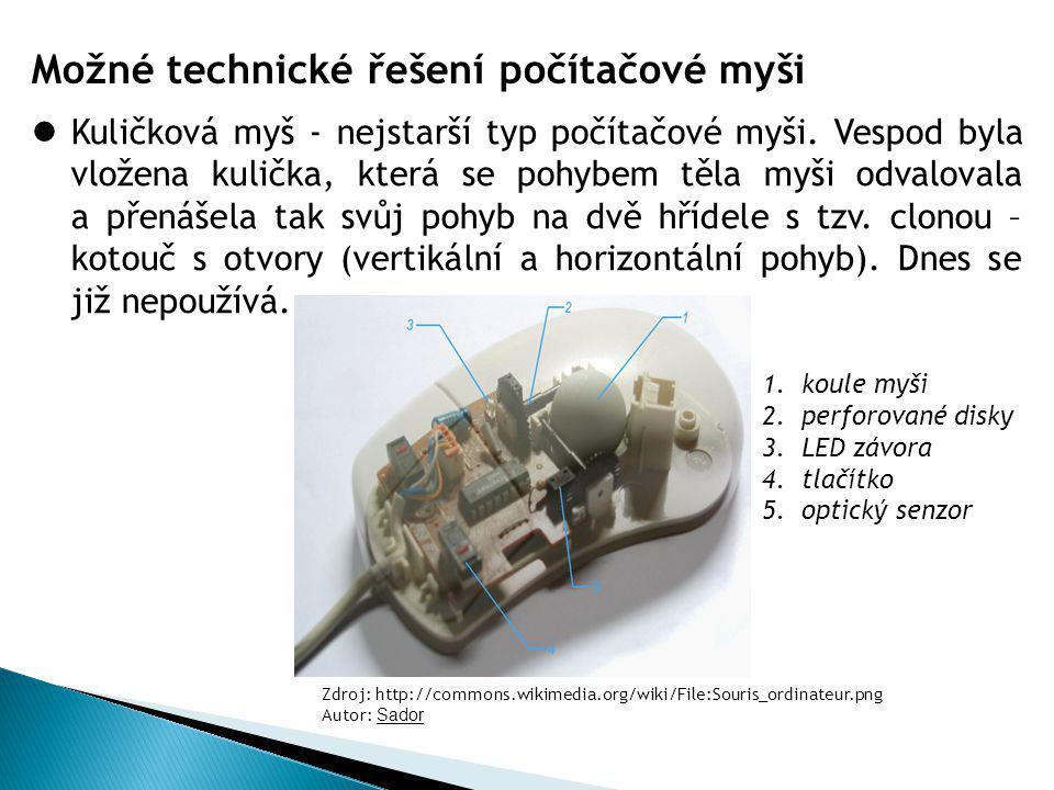 Možné technické řešení počítačové myši