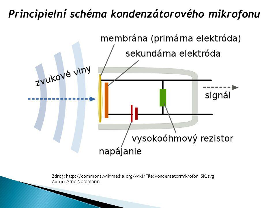 Principielní schéma kondenzátorového mikrofonu
