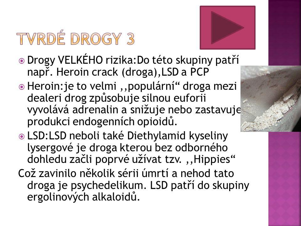 Tvrdé drogy 3 Drogy VELKÉHO rizika:Do této skupiny patří např. Heroin crack (droga),LSD a PCP.