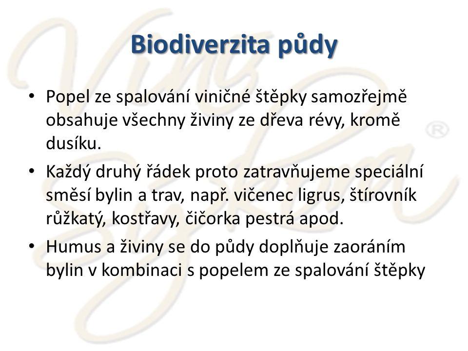Biodiverzita půdy Popel ze spalování viničné štěpky samozřejmě obsahuje všechny živiny ze dřeva révy, kromě dusíku.