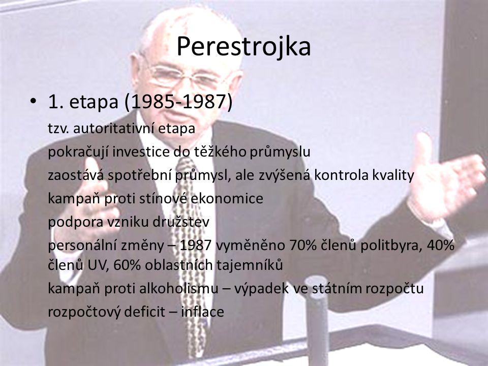 Perestrojka 1. etapa (1985-1987) tzv. autoritativní etapa. pokračují investice do těžkého průmyslu.