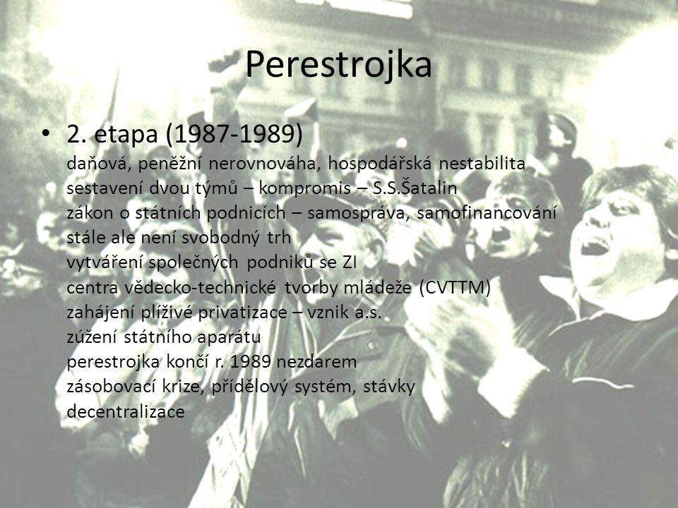 Perestrojka 2. etapa (1987-1989) daňová, peněžní nerovnováha, hospodářská nestabilita. sestavení dvou týmů – kompromis – S.S.Šatalin.