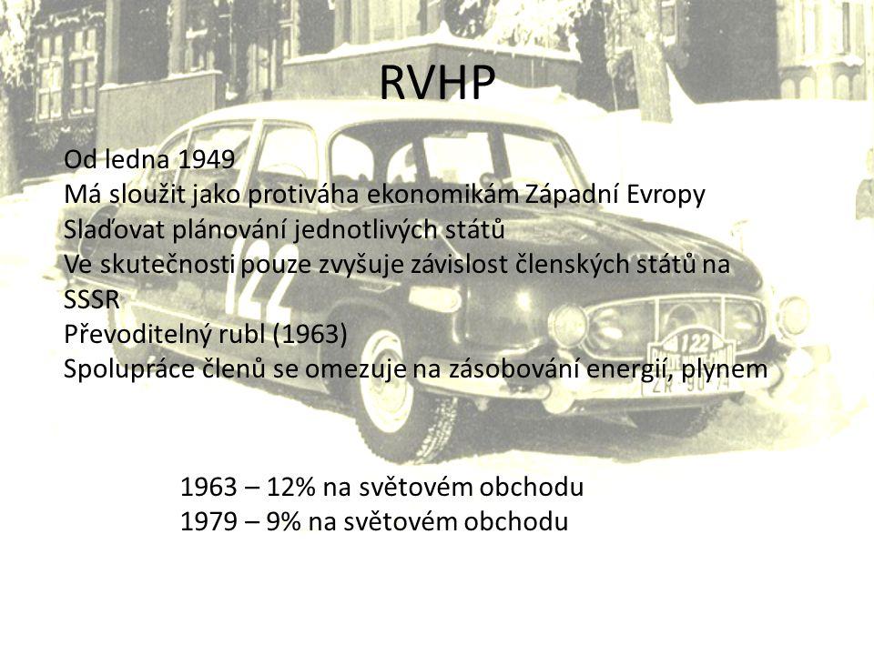 RVHP Od ledna 1949 Má sloužit jako protiváha ekonomikám Západní Evropy
