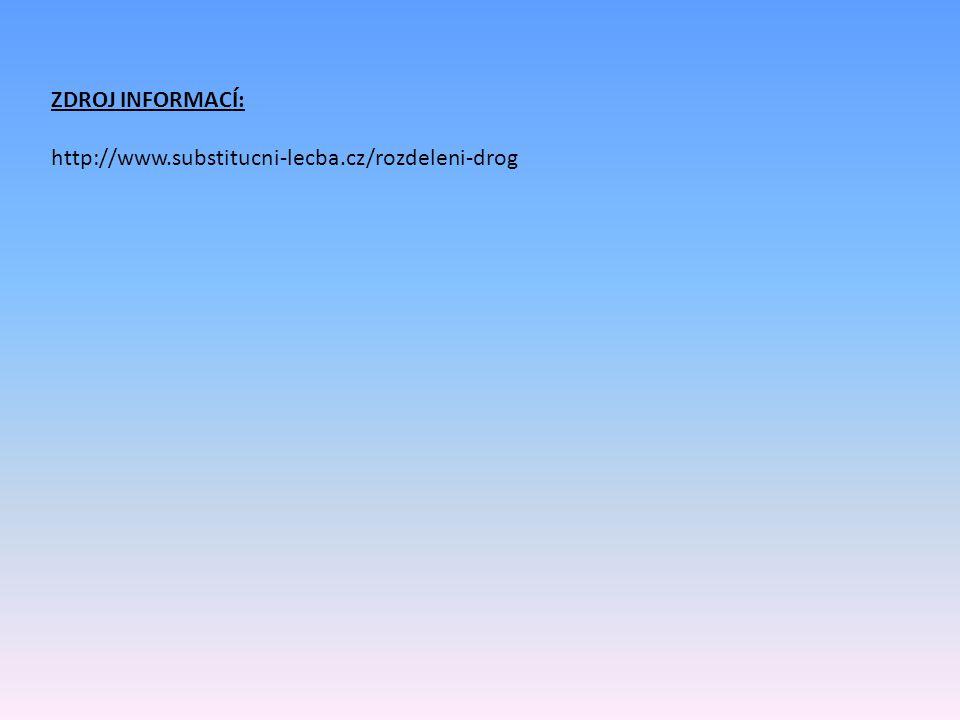 ZDROJ INFORMACÍ: http://www.substitucni-lecba.cz/rozdeleni-drog