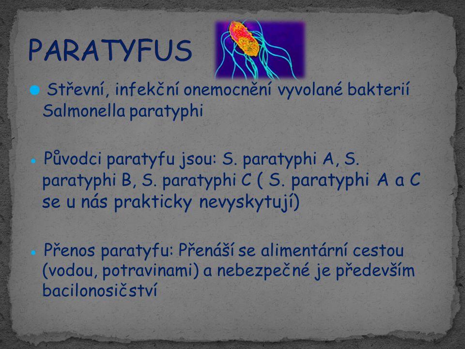 PARATYFUS ● Střevní, infekční onemocnění vyvolané bakterií Salmonella paratyphi.