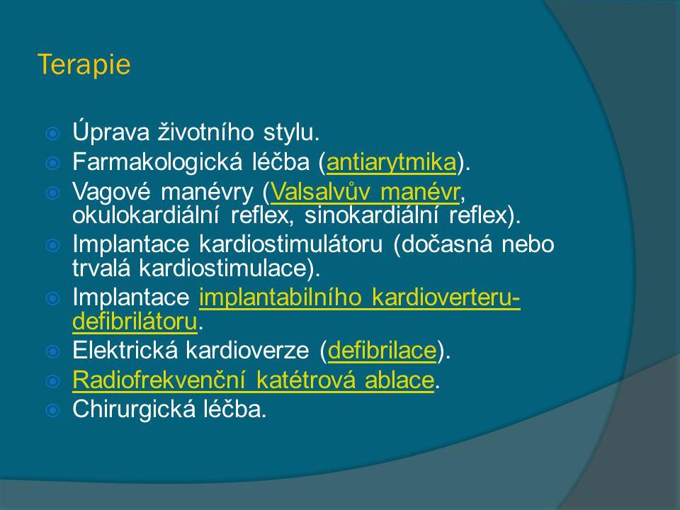 Terapie Úprava životního stylu. Farmakologická léčba (antiarytmika).