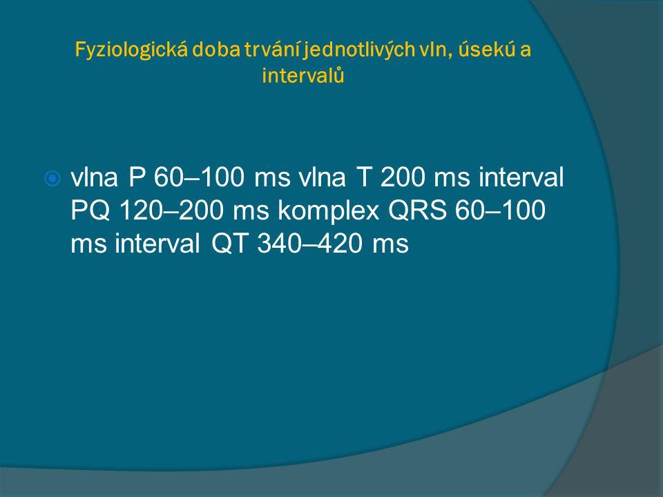 Fyziologická doba trvání jednotlivých vln, úsekú a intervalů