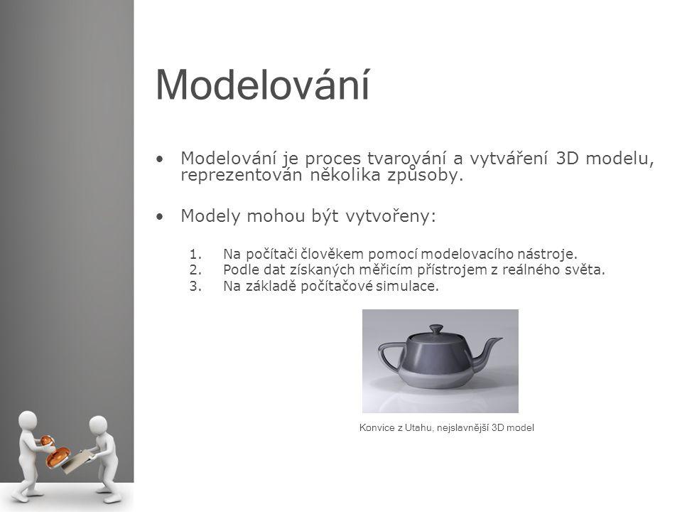 Modelování Modelování je proces tvarování a vytváření 3D modelu, reprezentován několika způsoby. Modely mohou být vytvořeny: