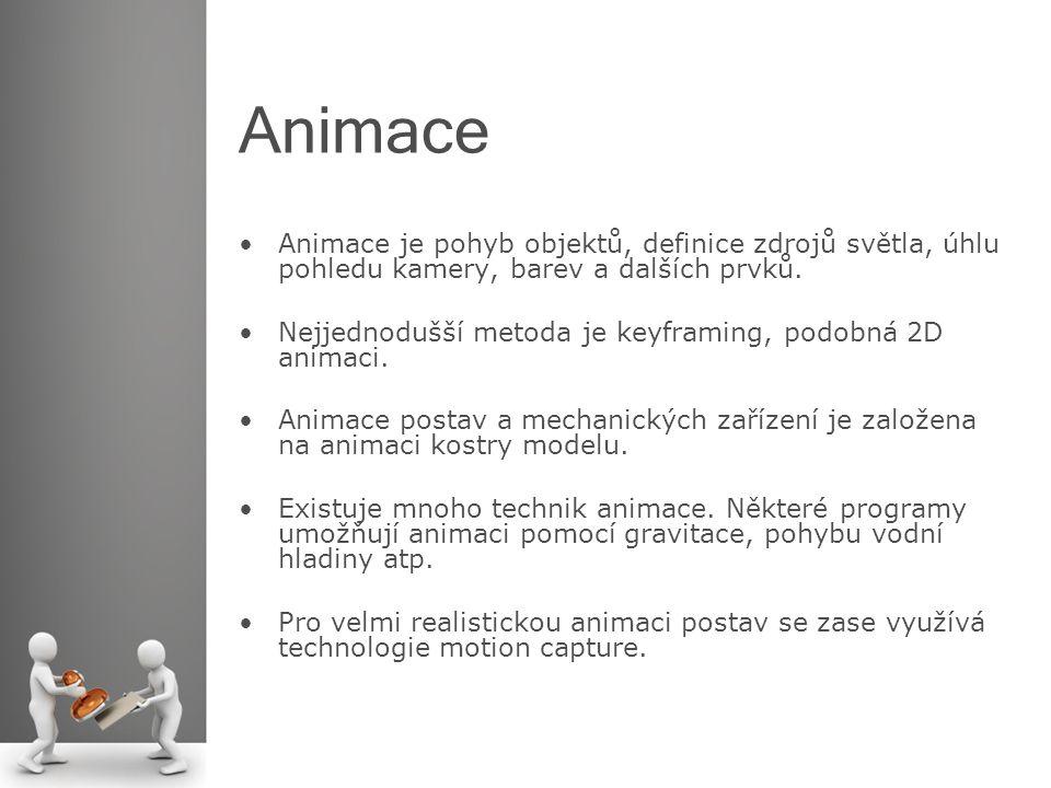 Animace Animace je pohyb objektů, definice zdrojů světla, úhlu pohledu kamery, barev a dalších prvků.