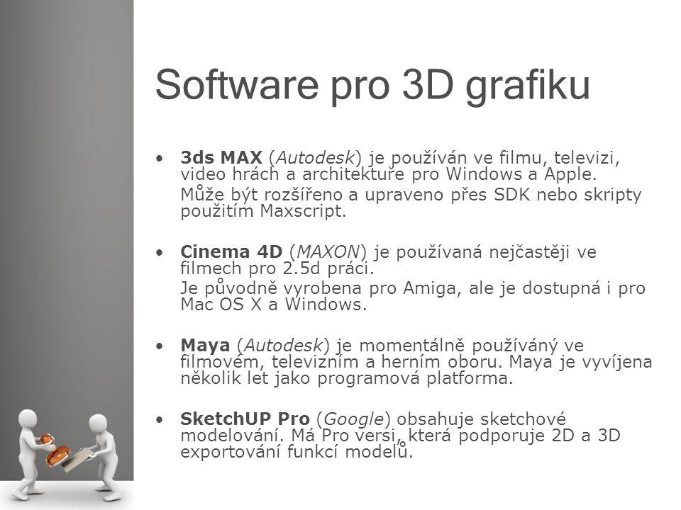 Software pro 3D grafiku 3ds MAX (Autodesk) je používán ve filmu, televizi, video hrách a architektuře pro Windows a Apple.