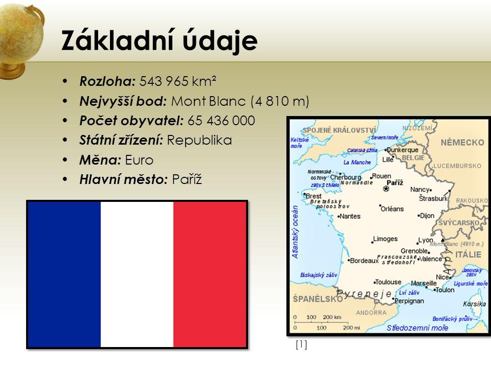 Základní údaje Rozloha: 543 965 km² Nejvyšší bod: Mont Blanc (4 810 m)