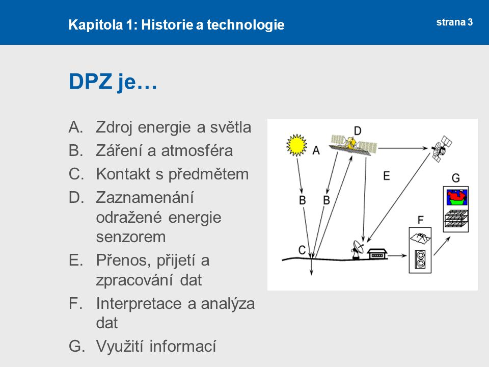 DPZ je… Zdroj energie a světla Záření a atmosféra Kontakt s předmětem