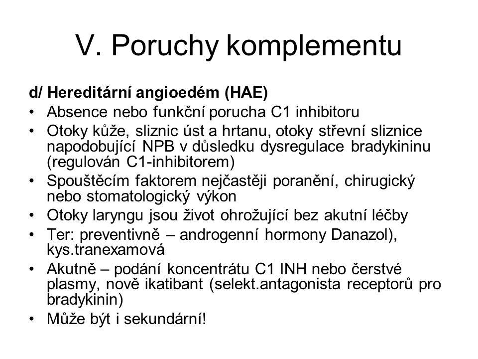 V. Poruchy komplementu d/ Hereditární angioedém (HAE)