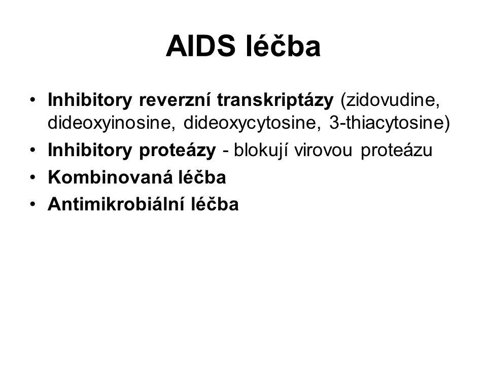 AIDS léčba Inhibitory reverzní transkriptázy (zidovudine, dideoxyinosine, dideoxycytosine, 3-thiacytosine)