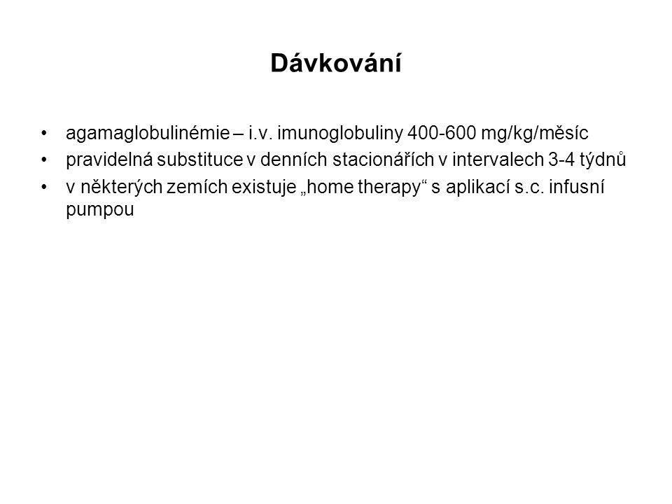 Dávkování agamaglobulinémie – i.v. imunoglobuliny 400-600 mg/kg/měsíc