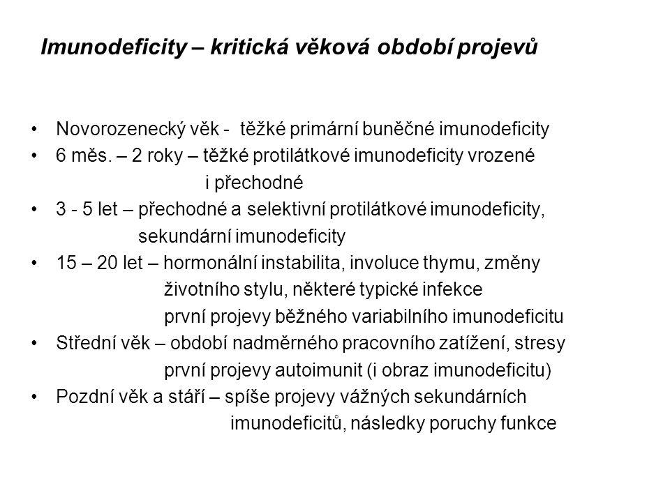 Imunodeficity – kritická věková období projevů