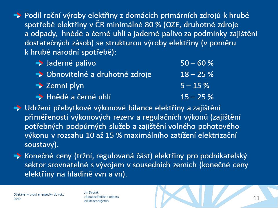 Podíl roční výroby elektřiny z domácích primárních zdrojů k hrubé spotřebě elektřiny v ČR minimálně 80 % (OZE, druhotné zdroje a odpady, hnědé a černé uhlí a jaderné palivo za podmínky zajištění dostatečných zásob) se strukturou výroby elektřiny (v poměru k hrubé národní spotřebě):