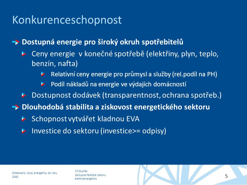 Konkurenceschopnost Dostupná energie pro široký okruh spotřebitelů